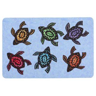 Bunch of Turtles Black Markings Colorful Shells Floor Mat