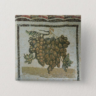 Bunch of white grapes, Roman mosaic 15 Cm Square Badge