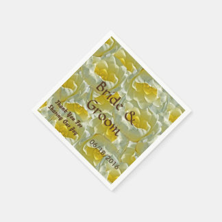 Bunch of White Lily Flowers Wedding Disposable Serviette