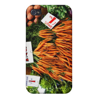 Bunches of carrots and vegetables on market iPhone 4 covers