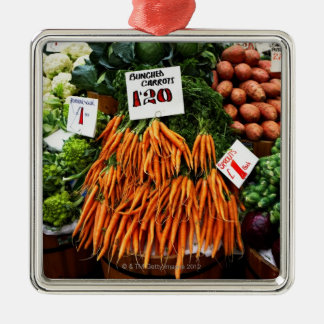 Bunches of carrots and vegetables on market Silver-Colored square decoration