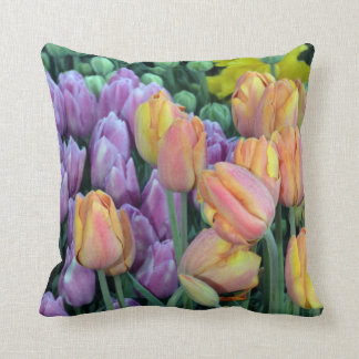 Bunches of colorful tulips cushion