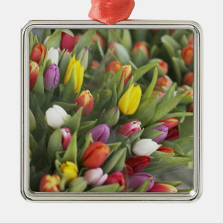 Bunches of colorful tulips Silver-Colored square decoration