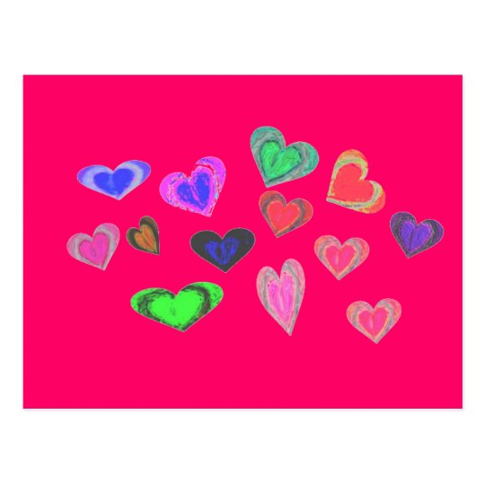bunches of little hearts postcard