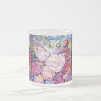 Bunches of Pink Flowers and Pink Bird Frosted Glass Mug
