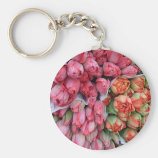 Bunches of Tulips at market in France Key Chain