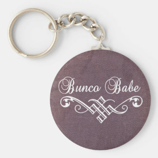 bunco babe with white lettering and purple leather basic round button key ring