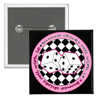 Bunco Chicks Roll With It - Pink 15 Cm Square Badge