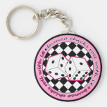 Bunco Chicks Roll With It - Pink Basic Round Button Key Ring