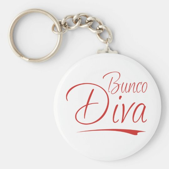 bunco diva basic round button key ring