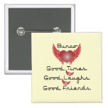 bunco good times with heart and wings 15 cm square badge