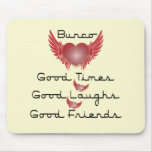 bunco good times with heart and wings mouse mat