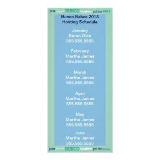 Bunco Hosting Schedule, Calendar or Roster Rack Card