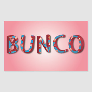 Bunco letters with bunco dice rectangular sticker