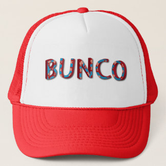Bunco letters with bunco dice trucker hat