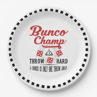 Bunco Paper Plate  - Vintage Bunco Champ 9 Inch Paper Plate