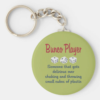 Bunco Player -Definition Basic Round Button Key Ring