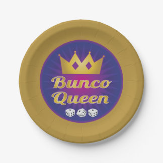 Bunco Queen Crown and Dice 7 Inch Paper Plate