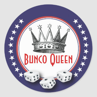 Bunco Queen With Dice - Red,White and Blue Round Sticker