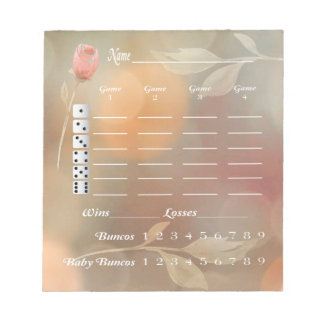 Bunco Score Card Score Pad - Elegant Flower