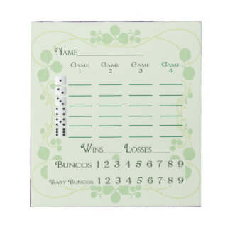 Bunco Score Pad March Green Floral Art Nouveau