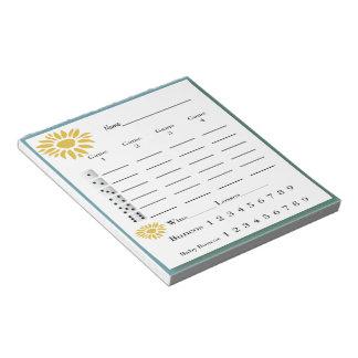 bunco score pad - sunflowers