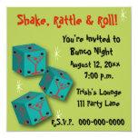 """Bunco - Shake, Rattle & Roll Martini Dice Invite 5.25"""" Square Invitation Card"""