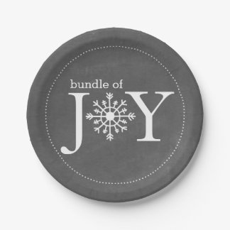 Bundle of Joy Chalk Snowflake Winter Baby Shower Paper Plate