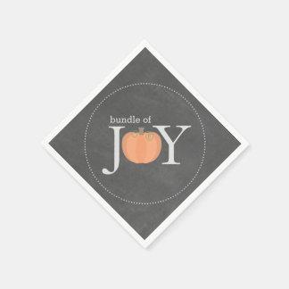 Bundle Of Joy Chalkboard Pumpkin Fall Baby Shower Disposable Serviettes