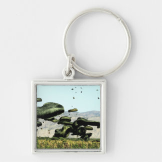 Bundles of food and water are air delivered Silver-Colored square key ring