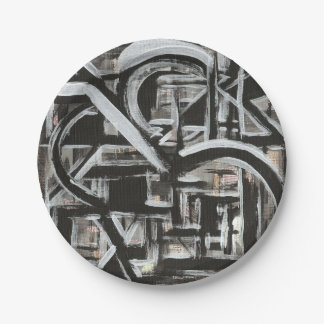 Bungalow-Hand Painted Abstract Brushstrokes Paper Plate