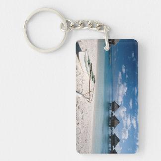 Bungalows from beach Motu Toopua Key Ring