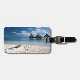 Bungalows from beach Motu Toopua Luggage Tag