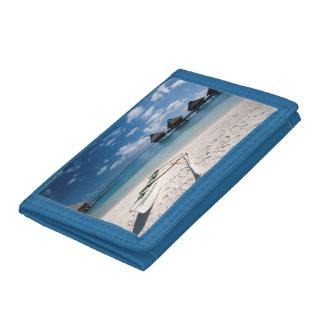 Bungalows from beach Motu Toopua Tri-fold Wallets