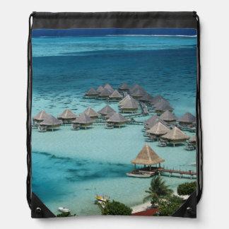 Bunglows of Beachcomber Hotel Drawstring Bag