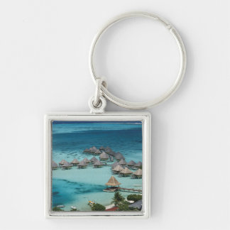 Bunglows of Beachcomber Hotel Silver-Colored Square Key Ring