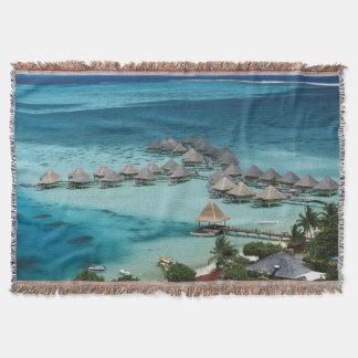 Bunglows of Beachcomber Hotel Throw Blanket