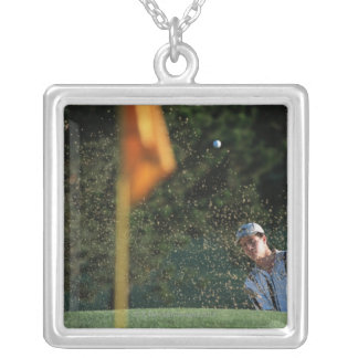 Bunker shot (Golf) Square Pendant Necklace