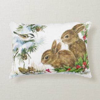 Bunnies and Bird Enjoy Snow Christmas Decor Pillow