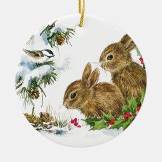 Bunnies and Bird Enjoy Snow Christmas Ornament