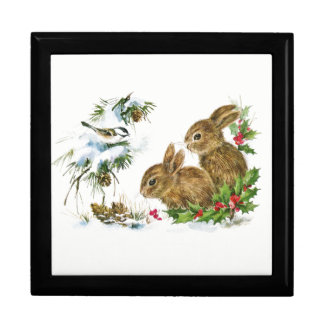 Bunnies and Bird Enjoy Snow Gift Box