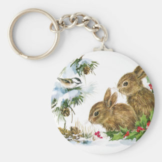 Bunnies and Bird Enjoy Snow Key Ring