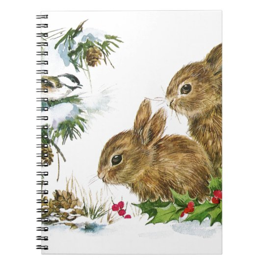Bunnies and Bird Enjoy Snow Notebook