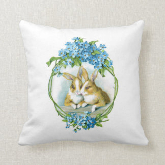 Bunnies and Blue Flowers Pillow