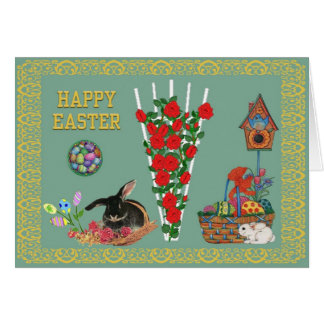 Bunnies and flowers greeting card