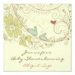 Bunnies and Flowers Neutral Baby Shower Invite 13 Cm X 13 Cm Square Invitation Card