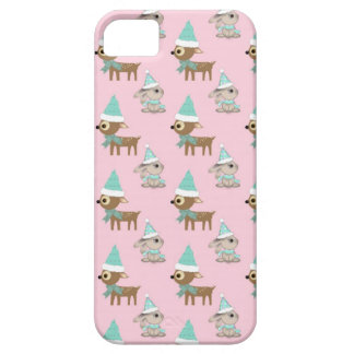 Bunnies and Reindeer over Pale Pink Holiday Art iPhone 5 Covers