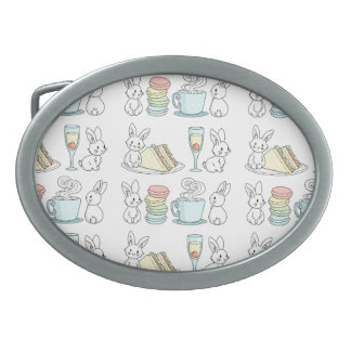 Bunnies at Afternoon Tea Oval Belt Buckle