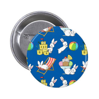 Bunnies at the Beach 6 Cm Round Badge