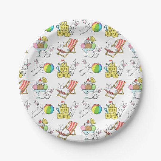 Bunnies at the Beach 7 Inch Paper Plate